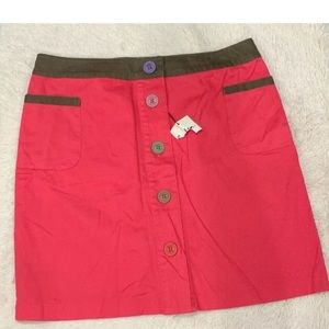 Boden Cotton Casual Skirt Front Buttons Pockets